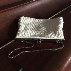 Vintage Wildly Beautiful White Beaded Purse